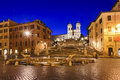 Rome spanish right rise italy stairs churs stairs square and fountain landmark at sunrise with illumination of historic buildings Royalty Free Stock Images