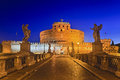 Rome st angelo mid bridge rise italy ancient landmark ruins of old roman castle modern christian church with statues leading to Royalty Free Stock Photography