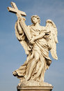 Rome - Statue of  angel with the Cross Royalty Free Stock Photos
