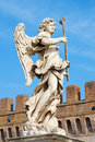 Rome statue of angel with the sponge by sculptor antonio giorgetti from angel s bridge in morning italy march light Stock Images