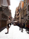 Rome street central with many fashion shops and restaurants photograph taken on may Stock Image