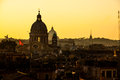 Rome sunset view of architecture in roma capitol city of italy Stock Photos