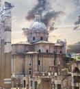 Rome touristic site ruins in Stock Image