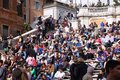 Rome tourists april people sit on famous spanish steps on april in according to euromonitor is the rd most visited city in europe Stock Photos