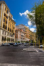 Rome urban scene old buildings in italy and daylight city traffic Stock Photo
