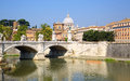 Rome view of the vatican with bridges over the river tiber in italy Stock Photography