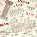Rome. Vintage seamless pattern with Coliseum, classic style column, flowers and text on grunge background. Royalty Free Stock Photo