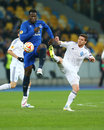 Romelu Lukaku and Antunes battle for ball, UEFA Europa League Round of 16 second leg match between Dynamo and Everton Royalty Free Stock Photo