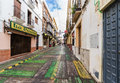 Ronda spain december ronda street on christmas eve p popular touristic place it is lined with cafes restaurants and shops Royalty Free Stock Photography