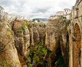Ronda spain panoramic view of the old city of the famous white village province of malaga andalusia Stock Images