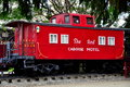 Ronks pa red caboose motel railroad car pennsylvania vintage cabooses from the nation s former railroads now serve as lodgings at Royalty Free Stock Photography