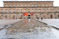 Ront view of Palazzo Pitti in Florence in rain Royalty Free Stock Photo