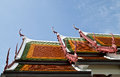 Roof of ceramic in wat phra borommathat chaiya province suratthani in thailand Stock Photos