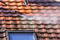 Roof cleaning with high pressure Royalty Free Stock Photo