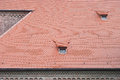 Roof composition in germany brick church with tiled Stock Images