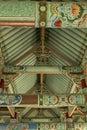 Roof construction Pohyon temple North Korea Royalty Free Stock Photo
