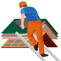 Roof construction worker repair home, build structure fixing rooftop tile house with labor equipment, roofer men with