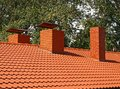 The roof is covered with orange tiles Royalty Free Stock Images