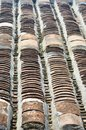 A roof covered with traditional terracotta tiles in Vietnam. Royalty Free Stock Photo
