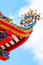 Roof decoration of chinese temple generally in thailand any kind art in temples churchs pavilions etc created with Stock Image