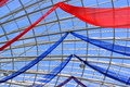 Roof dight with colored red and blue scarves Stock Images