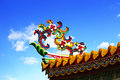 Roof eave the design of the overlapping flowers and decorated on the of chinese temple Royalty Free Stock Photo