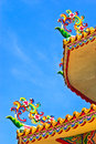 Roof eave the design of the overlapping flowers and decorated on the of chinese temple Royalty Free Stock Photography
