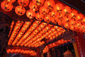 Roof full of red chinese lanterns in a temple Stock Images