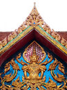 The Roof Gable and Deva Statue Thailand Stock Photos