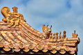 Roof Gardians Of Forbidden City Beijing China Royalty Free Stock Photo