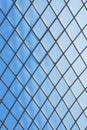 Roof glass modern windows metal grid blue sky pattern Royalty Free Stock Photo