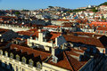 Roof of lisbon portugal tiled roofs at sunset Royalty Free Stock Photo