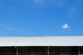 Roof of metal sheet building with clear blue sky Royalty Free Stock Photo