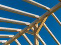 Roof of a new roof in house is built on construction site carrier wooden Royalty Free Stock Images