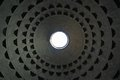 Roof of the pantheon in rome with characteristic ceiling with a hole Stock Images