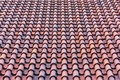 Roof with red tiles homogeneous surface of weathered Royalty Free Stock Image