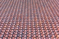 Roof with red tiles homogeneous surface of weathered Stock Photo