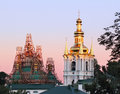 Roof repairs of uspensky monastery in kiev Stock Photos