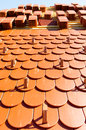 A roof with roof tiles shaped in the form of beaver tail Royalty Free Stock Images