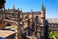 Roof and spires of the saint mary cathedral in seville spain Stock Photography