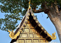 Roof thai lanna thailand architecture finishing the decorated with carved wood jutting into the sky with elegant style and Royalty Free Stock Images