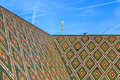 Roof tiles of the basel cathedral green red and yellow in switzerland Stock Photography