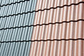 Roof tiles close up in various colors Stock Image