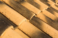 Roof tiles curved spanish in the sunlight Stock Photo