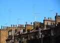 Roof top with chimneys and antennas Royalty Free Stock Photo