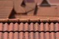 Roof top a with red tiles Royalty Free Stock Images