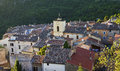 Roof top view french mountain village chateaudouble the var france hilltop surrounded by trees and mountains with its two chateaux Royalty Free Stock Photography