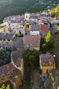 Roof top view french mountain village chateaudouble the var france hilltop surrounded by trees and mountains with its two chateaux Stock Photography