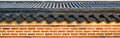 Roof on wall in gyeongbokgung palace korea Royalty Free Stock Image