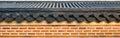 Roof on wall in gyeongbokgung palace korea Royalty Free Stock Image